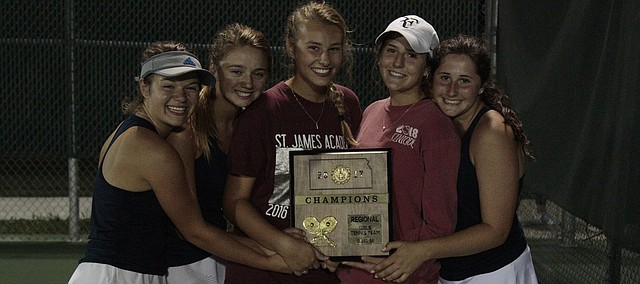 From left, St. James Academy junior Tara Devine and seniors Jillian Kubicki, Meredith Bierbaum, Catherine Rieke and Ryan Starkey hold the Class 5A girls tennis regional championship plaque on Saturday at De Soto. All five players qualified for the state tournament along with freshman Gabbi Taylor (not pictured).