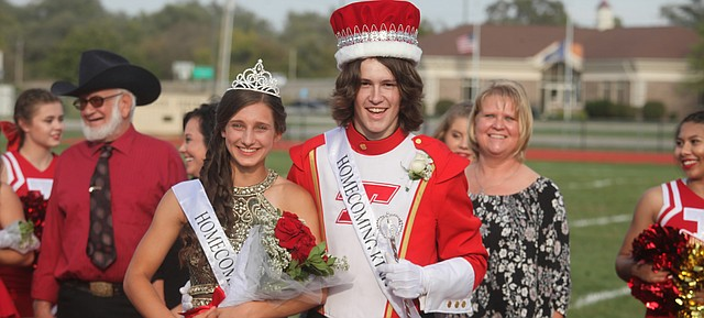 Sierra Staatz and Gage Smith are THS Homecoming royalty for 2017. The two were crowned Friday at Beatty Field before the Tonganoxie-Turner game Oct. 6, 2017.