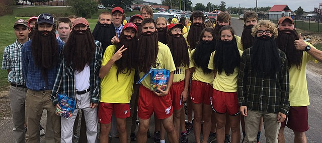 Some Tonganoxie High cross country team members dressed as Forrest Gump for the THS Homecoming Parade on Oct. 6, 2017. The THS boys placed second and the girls third at the final Kaw Valley League cross country meet, which took place Oct. 12 at Wyandotte County Park. THS next will compete at a Class 4A regional Oct. 21, also at WyCo Park.