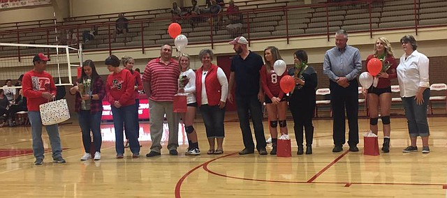 Tonganoxie High seniors are recognized Tuesday, Oct. 16, 2017, during Senior Night at the THS gymnasium.