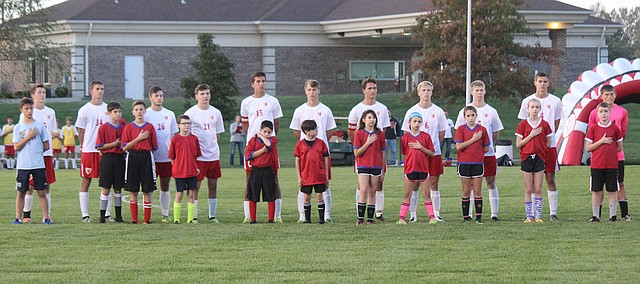 Tonganoxie High boys soccer players gather before the match on Senior Night, Thusday, Oct. 19, 2017, at Chieftain Park. THS tied Kansas City Christian in the regular-season finale. THS entered regionals as a No. 1 seed with a 14-0-2 record.