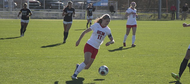 Mill Valley alumna and Central Missouri redshirt senior Kayla Hamner dribbles the ball during the first half of the Jennies' 3-0 win over Mercy College (N.Y.) in the NCAA Division II national semifinals on Thursday at Swope Soccer Village.