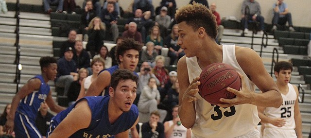 Mill Valley freshman Keeshawn Mason handles the ball in the post in the second half of the Jaguars' 51-29 loss to Gardner-Edgerton on Thursday in the semifinals of the Huhtamaki Hardwood Classic.