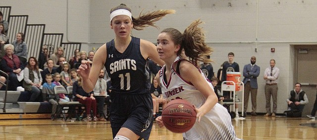 St. James Academy freshman Claire Worthington drives to the basket in the closing seconds of the first half during the Thunder's 51-29 loss to the Saints on Wednesday.