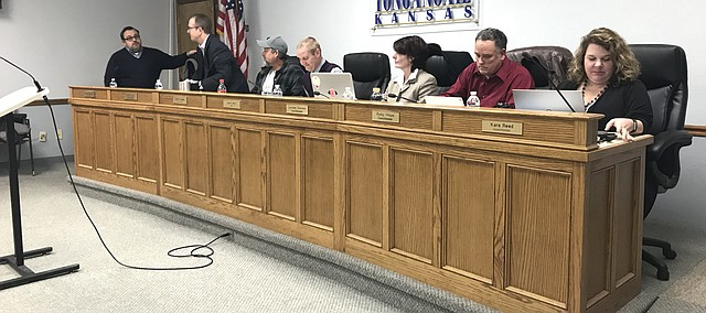 Tonganoxie City Council at its first meeting with a new council Jan. 8, 2018.