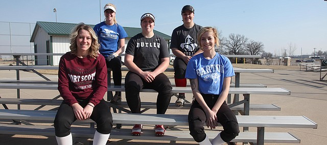 This year's Tonganoxie High softball team features a senior class that will entirely be playing at the collegiate level when their high school careers conclude. Pictured, from bottom left, are Makenzie Sample (Fort Scott CC), Lauren Willson (Hutchinson CC), Delainey Fenoglio (Butler CC), Audrey Miller (Labette County CC) and Torrissa Hootman (Barton CC). All will play softball at the next level except for Willson, who will play volleyball for the Blue Dragons.