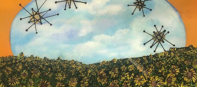 """This painting is """"Sunflowers"""" by Elizabeth Daniel. The Tonganoxie artist will be painting a mural inside Ryan's Public House this weekend."""