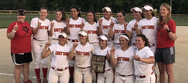 The Tonganoxie High softball team celebrates winning a Class 4A Division I regional title Tuesday in Wamego. The victory marked Tonganoxie's first state berth since 2006 — when THS assistant coach Amanda Albert was a sophomore on that state team.