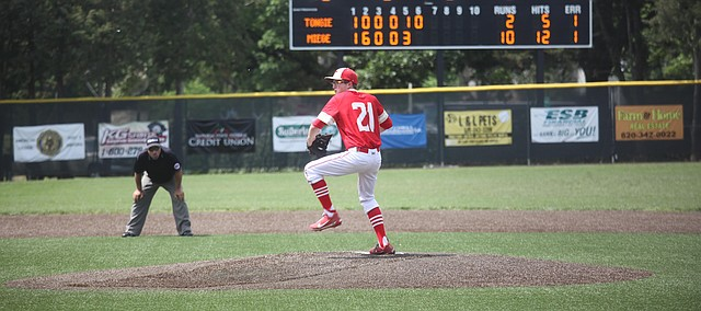 Tonganoxie High senior Timothy Peel pitches in relief against Bishop Miege during the Class 4A Division I state semifinals. THS lost to Miege, but finished fourth overall at state.