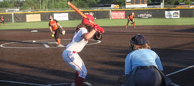 Tonganoxie High bats against Independence in the Class 4A Division I semifinals in Emporia. THS (19-5) couldn't rally against Independence and lost, 5-3. THS finished with a thrid-place trophy.