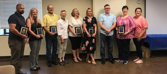 Award winners gather for photos at this year's Tonganoxie Business Association annual banquet May 15 at West Haven Baptist Church.