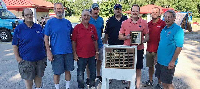 The Sacred Heart Knights of Columbus in Tonganoxie is this year's Wall of Fame inductee. Members of the local Knights of Columbus chapter gathered Saturday for the Tonganoxie Recreation Commission Summer Kickoff Party with TRC officials.