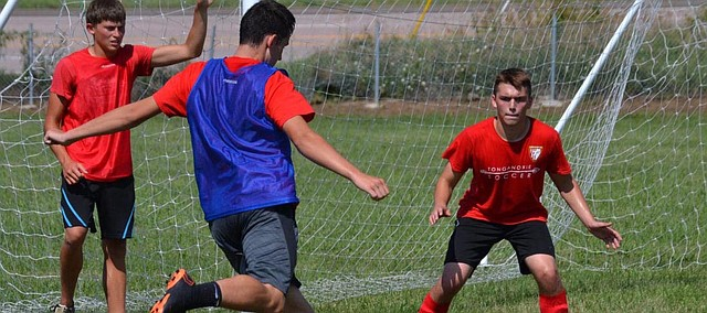Tonganoxie High senior center back Kiowa Witt takes a shot during a summer camp Wednesday, June 27. The Chieftains lost 11 seniors from last year's team, which went undefeated in the 2017 regular season.