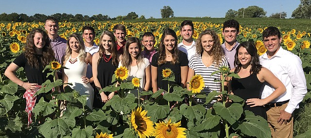 This year's Tonganoxie High School homecoming candidates are, front row, from left, Maureen Wetta, Savannah Kovar, Brooklin Maas, Bailey Bradley, Taylor Knipp, Corinn Searcy and Avery Moritz; back row, from left, Blake Phillips, Josh Bosley, Calvin Morgan, Korbin Riedel, Gage Sommer, Hayden Robbins and Drake Pray.