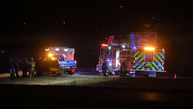 Shawnee Fire and Johnson County Med-Act at the in the Kansas Highway 7 and Shawnee Mission Parkway interchange after a driver found a man and his motorcycle crashed in the ditch early Tuesday.