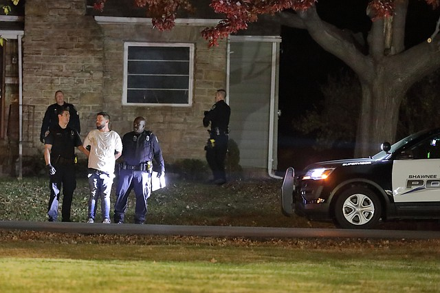 Police arrested a 28-year-old Kansas City, Missouri man after he allegedly caused two disturbances and broke into an unoccupied home in eastern Shawnee early Tuesday.