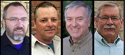 Candidates for the Leavenworth County Commission's new Fifth District are, from left Tonganoxie's David Frese (I), Tonganoxie's Curtis Oroke (I), Mike Stieben (R) and Linwood's Stuart Sweeney (D). The special election will be March 26.