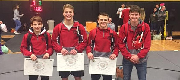 Tonganoxie High is headed to state with four in 2019. THS earned three gold medals and got a fourth-place finish Saturday at the Class 4A Paola Regional. Pictured from left, are Grayson Sonntag (first, 106-pound division), Connor Searcy (first, 195), Korbin Riedel (first, 152) and Jesse Collier (fourth, 160).