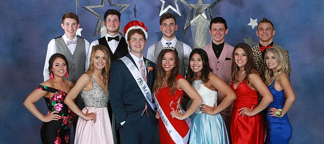 Tonganoxie High School Prom royalty and candidates gather for photos during this year's prom April 6 at the Kansas Union Ballroom on the University of Kansas campus in Lawrence. Pictured, front row, from left, are Avery Moritz, Brooklin Maas, prom king Adam DeMaranville, prom queen Bailey Bradley, Yareli Gardea, Savannah Kovar,  Calvin Morgan, Gage Sommer, Josh Bosley, Chris Botkin and Korbin Riedel.