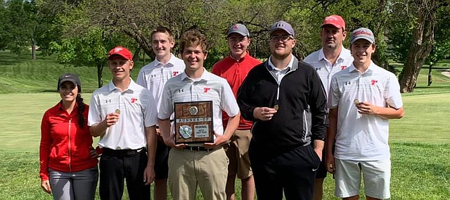 Tonganoxie High boys golf is heading to state as a team for the third consecutive year. THS placed second Monday at a Class 4A regional in Paola. The top three teams from each of the four regionals advance to state, which will be this coming Monday in Winfield. Pictured, front row, from left, are assistant coach Sydney Fraley, Jacob Hall, Adam DeMaranville, Dylan Aitkins and Andrew Willson; back row, from left, Jackson Vorbeck, Noah Skelley and coach Doug Sandburg.