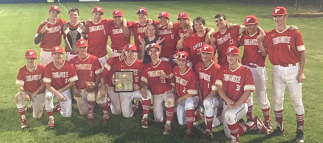 The Tongaoxie High baseball team gathers May 14 after knocking off defending state champion Iola in a Class 4A regional at Iola. The Chieftains (12-9) take on Nickerson on Thursday in Salina.