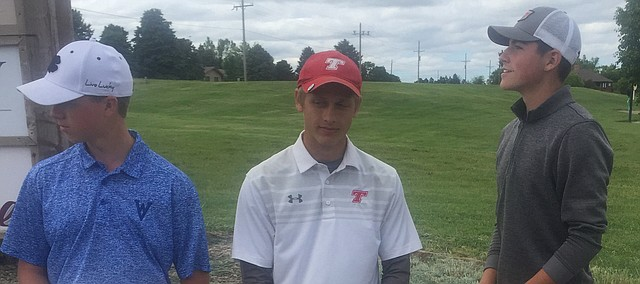 Tonganoxie High senior Jacob Hall stands with other state placers following the Class 4A state golf tournament Wedensday, May 30, in Dodge City. Hall placed 11th at the meet, which resumed nine days after the original tournament was postponed and moved from Winfield to Dodge City.