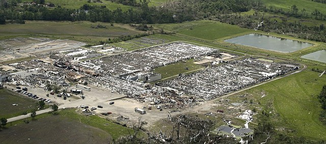 A destroyed commercial greenhouse is seen during an aerial tour by Kansas Gov. Laura Kelly Thursday after an EF-4 tornado tore through the countryside May 28 near Linwood.