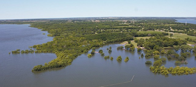 Flooding at Clinton Lake is pictured in this photo from Monday, June 24, 2019, provided by the U.S. Army Corps of Engineers with assistance from the U.S. Army Reserves.