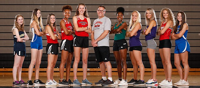 Lawrence Journal-World All-Area softball team members are pictured from left: Sierra Smith, Eudora, Kyla Etter, Eudora, Megan Kennedy, Eudora, Georgia Rea, Free State, player of the year Tatum Clopton, Free State, coach of the year Lee Ice, Free State, Sara Roszak, Free State, Lauren Gray, Tonganoxie, Lindsey Toot, Baldwin. Not pictured: Graci Folks, Perry-Lecompton and Angelina Harjo, Lawrence.