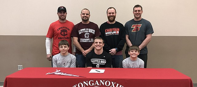 Korbin Riedel signs a National Letter of Intent to compete in wrestling at the University of Arkansas-Little Rock. Riedel won a state title in February in Salina, becoming the first THS wrestler in program history to win a state title.