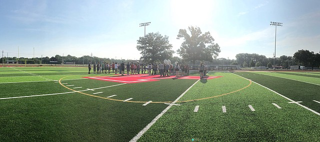 Tonganoxie High School band members practice this past week on the new Beatty Field turf during its band camp.