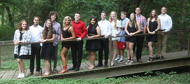 Tonganoxie High will have homecoming royalty crowning Friday before the THS-Spring Hill football game at Beatty Field. Candidates, from left, are Aspen Moritz, Elijah Tyner, Laruen Lawson, Jake Edholm, Merkaia Khanthaboury, Cooper Cunningham, Andrea Zesati, Caden Woods, Anja Bartels, James Works, Cadence Cole, Cole Sample, Lauren Gray and Connor Searcy.