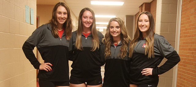 Tonganoxie High volleyball seniors on this year's varsity team are, from left, Lauren Gray, Erin Gallagher, Abby Marcoullier and Cadence Cole.