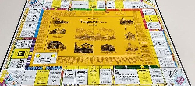 This is the original Tonganoxie version of Monopoly. The Friends of the Tonganoxie Library are taking orders for a revised version of the board game, which will be available in the new year.