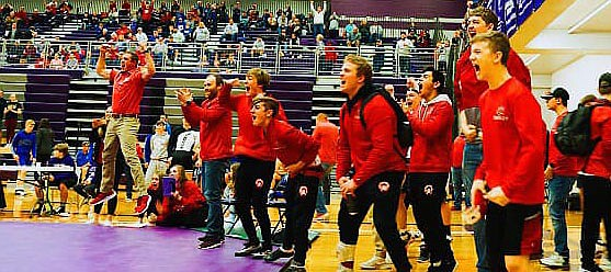 The Tonganoxie High boys wrestling team celebrates a match during Class 4A regional action Feb. 21-22 at Louisburg. THS has six team members wrestling Feb. 28-29 at the 2020 KSHSAA Class 4A State Wrestling Championships at Tony's Pizza Events Center in Salina.