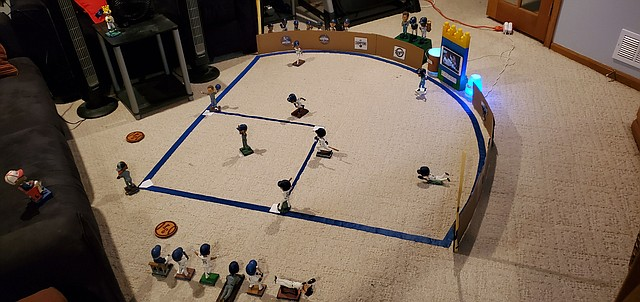 When there is no Major League Baseball, or any sports for that matter, these days, one improvises. Justin Nutter turned his basement into a Kauffman Stadium of sorts on Opening Day. Read more about the former Mirror sports editor's bobblehead ballpark on page 6A.