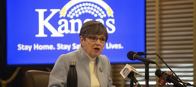 Kansas Gov. Laura Kelly speaks at a news conference to give updates on the COVID-19 outbreak Thursday, April 9, 2020, at the Statehouse in Topeka.