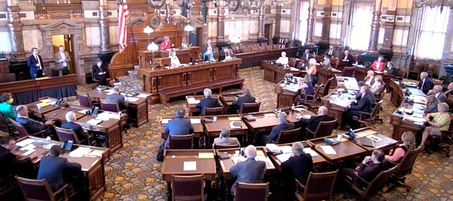 In this screenshot of a video feed from the Statehouse in Topeka, the Kansas Senate votes on the appointment of Carl A. Folsom III as a judge on the Court of Appeals on June 3, 2020.