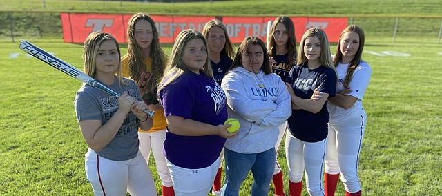 The Tonganoxie HIgh softball team returned a huge senior class with high hopes for the 2020 season, but the COVID-19 pandemic thwarted those aspirations with the cancellation of spring sports. Pictured, front row, from left, are Sam Reynolds, Ally Sparks, manager Alex Hartpence, Haley Robinette and Cadence Cole; back row, from left, Erin Gallagher, Bridge Knipp and Lauren Gray.