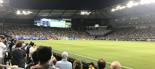 Fans look on during a Sporting Kansas City game in June 2019 at Sporting Park in Kansas City, Kan. This year's Tonganoxie High School commencement exercises will take place at the stadium.