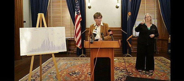 Kansas Gov. Laura Kelly announces the implementation of a statewide policy mandating the wearing of face coverings in public to slow the spread of COVID-19 at a news conference on Monday, June 29, 2020, at the Kansas Statehouse in Topeka.