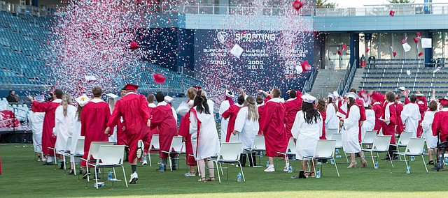 The Tonganoxie High School Class of 2020 finally celebrates finishing up its high school careers. Graduates celebrate by throwing there mortar boards into the air as confetti flies into the air June 30 at Children's Mercy Park in Kansas City, Kan.
