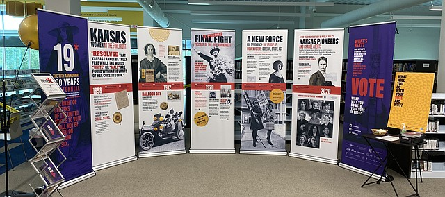 A League of Women Voters traveling exhibit celebrating the 100th anniversary of women's voting rights with the 19th Amendment can be seen this week at Tonganoxie Public Library. The exhibit will be on display at the library through Saturday.
