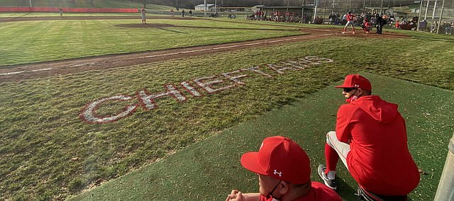 Tonganoxie High baseball coaches look on Friday, March 26 at the Leavenworth County Fairgrounds. THS swept Jeff West in the first doubleheader of the season.