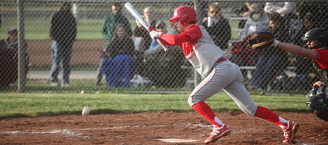 Tonganoxie High baseball competes March 26 in the season-opening doubleheader against Jeff West. THS swept the series and imporved to 2-0.