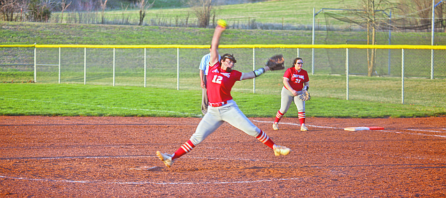Sarah Mays fires in a pitch Monday during the second game of the season-opening doubleheader against Turner. THS won both games, 17-2 and 7-5. The games marked the first games for the program since spring 2019 with the 2020 season being canceled due to the earlier stages of the COVID-19 pandemic.