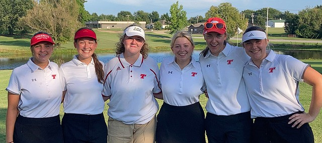 Tonganoxie High wins the Ottawa Invitational on Monday, Aug. 30, 2021. Pictured, from left, are Santiana Garcia, Bethany Overmiller, Abby Clarkson, Emma Skelley, Hayden York and Keerstin McNeely.