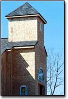 This is the steeple on the new church building, which is being constructed with the help of volunteers.