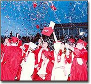 Graduates of the Tonganoxie High School class of 2001 sent confetti and mortarboards soaring into the air at the close of Saturday night's graduation ceremony. Additional graduation photos appear on page 8A of The Mirror's print edition.