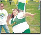 Katie Dukes of Basehor-Linwood prepares to launch one of her preliminary tosses in Friday's Class 4A State shot put event. Dukes, a freshman, was one of two BLHS athletes to qualify for the Kansas State High School Track and Field Championships in Wichita.